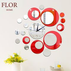 Floriane Wall Clock Round Shape Modern Home Decor DIY Stickers Living Room Bedroom Mirror Clock RED see information
