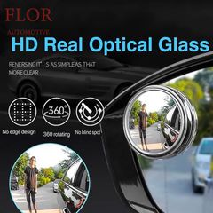 Floriane 2PCS Blind Spot Mirror HD Glass Convex Lens Frameless 360 Rotating Waterproof Car Mirror Silvery 2pcs*5.2cm(d)