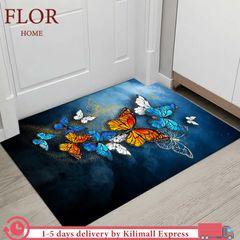 Floriane Carpets Home Decor Floor Mats Kitchen Bedroom Rugs Bathroom Living Room Non Slip Carpet Colorful Butterfly 50*80 cm