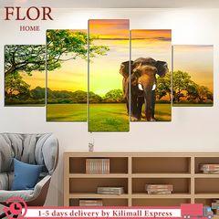 Floriane 5Pcs Vinyl PVC Painting Elephant Wall Stickers Wallpaper Bedroom Decor Animal Waterproof wild elephant 23*35cm*2pcs+23*45cm*2pcs+23*55cm*1pcs
