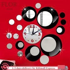 Floriane Wall Clock Round Shape Modern Home Decor DIY Stickers Living Room Bedroom Mirror Clock black see information