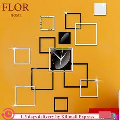 Floriane Wall Clock Wall Stickers Home Decor DIY Square Mirror Wallpaper Photo Frame Clocks 108*92cm silver see information