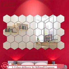 Floriane Wall Stickers Home Decor 12Pcs DIY Hexagon Wallpaper Mirror Stickers 12.6*11*6.3cm/pcs silver 12 Pcs