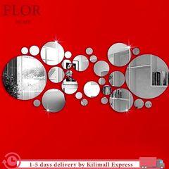 Floriane DIY Home Decor 32Pcs Living Room Art Waterproof Multiple Disc Silver Mirror Wall Sticker silver one size