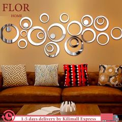 Floriane DIY Decor 24Pcs Wall Stickers Waterproof Multiple Rings Living Room Bedroom Mirror Stickers silver one size