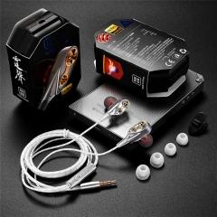 earphones metal body in-ear subwoofer earplug microphones universal silver