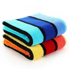 2psc Adult thickened cotton towel Soft absorbent Striped face Bath towelPure cotton material one blue and one orange(2psc) 72*36cm
