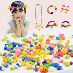 Kids toys Children's beads made by hand DIY bag No rope bracelet Necklace Hair ribbon Ring Earrings as picture around 300