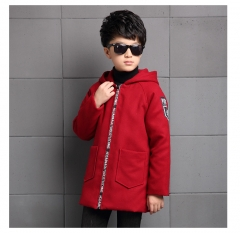 Boy's woollen coat Windbreaker Keep warm in winter Childern clothes jacket boys clothes wine red 130
