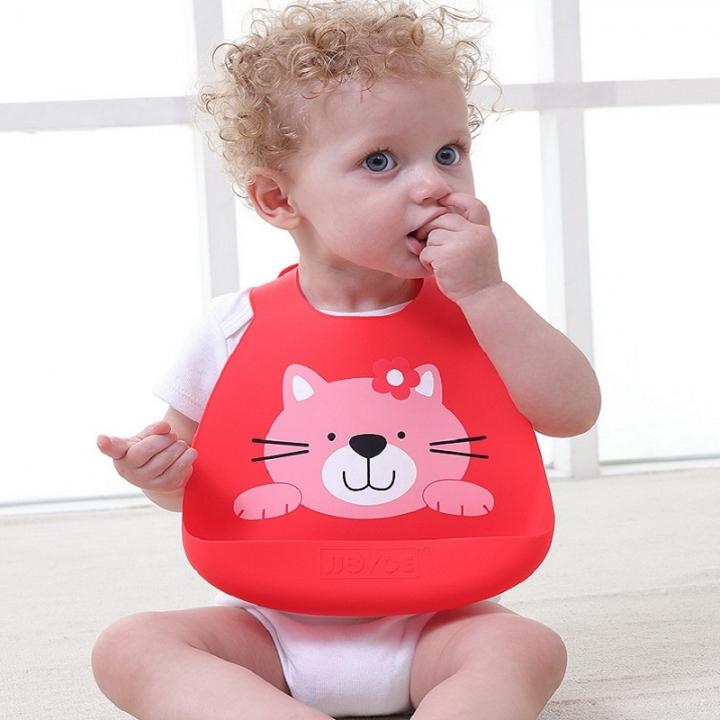 Baby stuff Silicone bib baby waterproof food meal large baby feeding bib children eating pocket cat 35*24