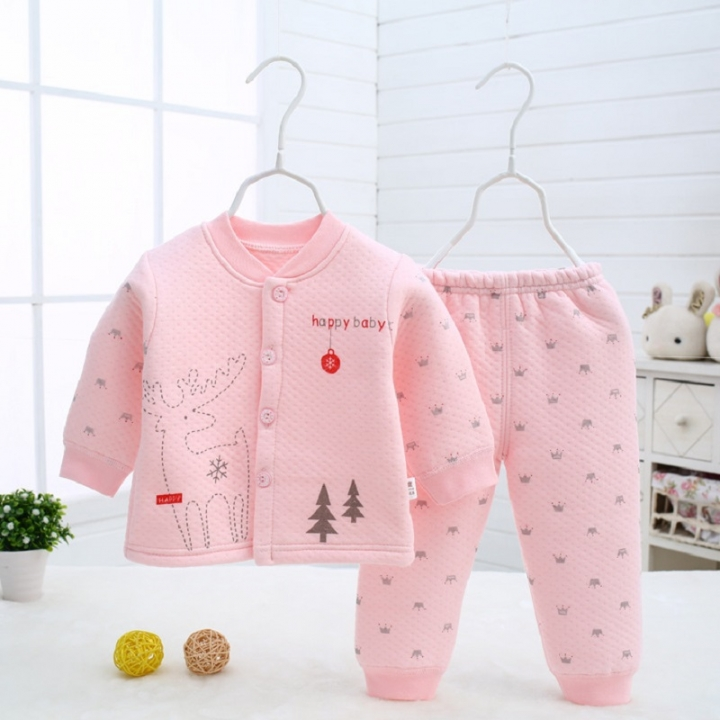 Baby clothes thermal underwear newborn suit cotton 6-9 months 9-12 months pink 73