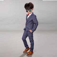 Boy Gentleman Suit 4PCS Children Official Occasion Costume Set Child Wedding Party Boy wear gray 7(90cm)