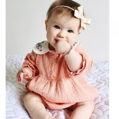 0-3 years old baby dress long-sleeved jumpsuit cotton to send hat baby wear kids clothes pink 70