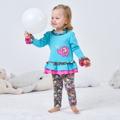 1-2 year old baby clothes long-sleeved shirt + pants two-piece suits cotton blue elephant image color 9M