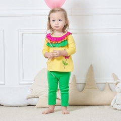 0-3 years old girl dress lace top + leggings long sleeve baby suit flowers kid wear baby stuff image color 3-6M