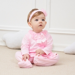Newborn long sleeve onesies clothes  pink flowers cotton baby girls jumpsuit baby clothing 3M 6M 9M image color 3M