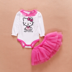 0-2 years old baby clothes Siamese top + mesh skirt suit pink hello Kitty kids wear for girl Long sleeve 3-6M