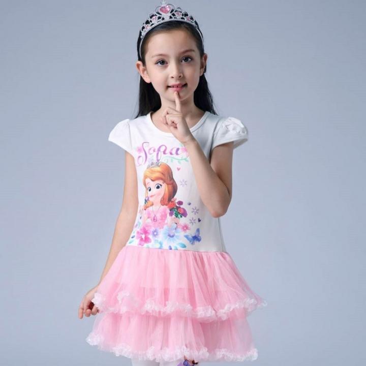 b378eb109 3-12 year old girl Frozen cartoon princess dress long  short sleeve ...