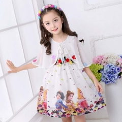 Girls dresses chiffon cotton fashion children frozen snow white dress two-piece skirt kids wear image color 150