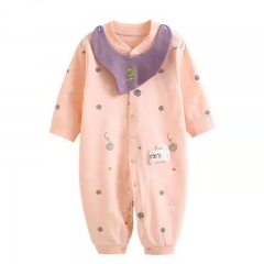 0-12M baby jumpsuit cotton long-sleeved newborn baby clothes underwear pink 66