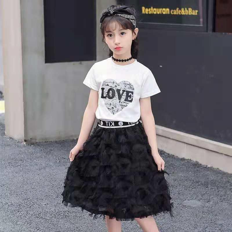 665c7403ea49 2018 new girl dress Korean version of the skirt T-shirt two-piece ...