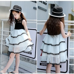 Girls Skirt Top + Skirt Two-piece Lace Dress Stitching Cake Dress Girls Sleeveless Skirt White (a little blue) 160