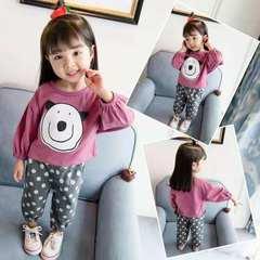 1-5T girl top + pants two-piece fashion cartoon dot bear set kids wear for girl purple 80