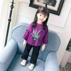 1-9T girl clothes top + wide leg pants two-piece long sleeve kids wear for girl children suit purple 80