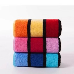 Adult thickened cotton towel Soft absorbent Striped face Bath towel Pure cotton material 3pcs(orange+pink+blue) 72*36cm