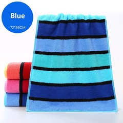 Adult thickened cotton towel Soft absorbent Striped face Bath towel Pure cotton material blue 72*36cm