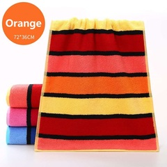 Adult thickened cotton towel Soft absorbent Striped face Bath towel Pure cotton material orange 72*36cm