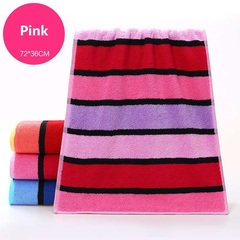 Adult thickened cotton towel Soft absorbent Striped face Bath towel Pure cotton material pink 72*36cm
