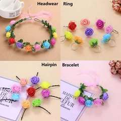 Hair Rollers Accessories Color Wreath Flower Ring Bracelet Hair Clip Wedding Beauty Suit(1wreath+1bracelet+3hairpin+3ring) default