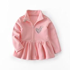 Girls coat fleece tops long-sleeved clothes spring and summer children's shirt kids skirt jacket pink 90
