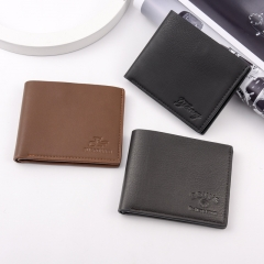 Men's Short Embossed Multi-card European And American Fan Wallet black 12*9.8*1.5CM