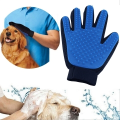 Pet Grooming Cleaning Glove Pet Hair Remover Brush Deshedding Massage Tool for Dogs Cats Horses Black & Blue One Size