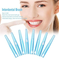 8pcs Oral Care Interdental Brush Orthodontic Wire Toothbrush Imported Caliber 0.7mm Push-Pull Brush Blue