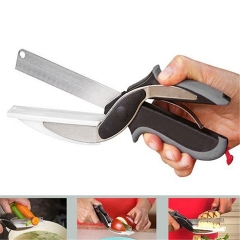 2 in 1 Multifunction Scissors Kitchen Knife Clever Cutter Stainless Steel Cooking Tools Shown in the picture one size