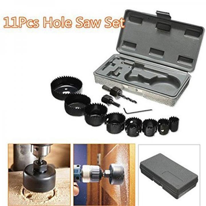 11pcs Hole Saw Cutting Set Kit Drilling Tool Wood Metal Cutter 19-64mm Mandrels Saws Core Drill Bits Black One Set