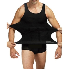Men's Body Shaper Slimming Shirt Elastic Sculpting Vest Thermal Compression Base Layer Shapewear Black L