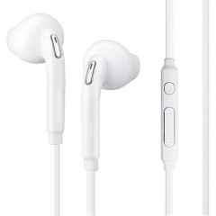 3.5mm Wired Stereo In-Ear Earbuds Headphones w Mic for Samsung Galaxy S6 S7 Edge White