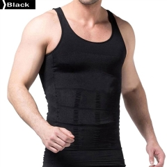 140D Men's Slimming Body Shaper Undershirt Vest Shirt Abs Abdomen Shaper Waist Girdle Shirt Vest Black L 140D 80% Nylon + 20% Spandex