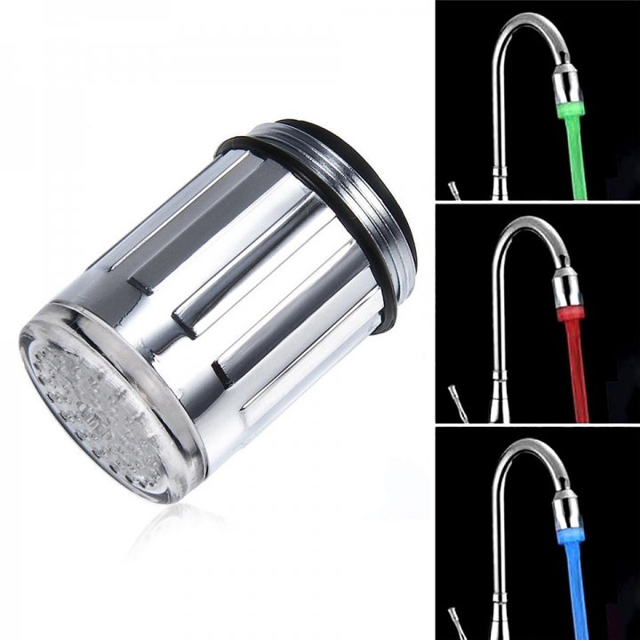 Temperature Sensor 3-Color Changing LED Faucet Filter Light for Home Use Silver One Size