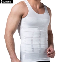 140D Men's Slimming Body Shaper Undershirt Vest Shirt Abs Abdomen Shaper Waist Girdle Shirt Vest White XXL 140D 80% Nylon + 20% Spandex