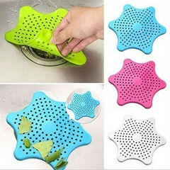 Starfish Shaped Sink Strainer Floor Drain Cover Hair Catcher Rubber Shower Trap Basin Filter Color Sent in Random One Size