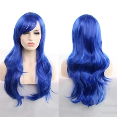 Cosplay Show Long Curly Wave Various Color Full Wig Heat Resistant Synthetic Fiber Hair Blue 70cm