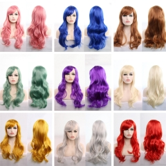 Cosplay Show Long Curly Wave Various Color Full Wig Heat Resistant Synthetic Fiber Hair Black 70cm
