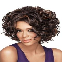 Short Bob Wavy Fluffy Curly Full Wig Heat Resistant Synthetic Fiber Hair Black 30cm