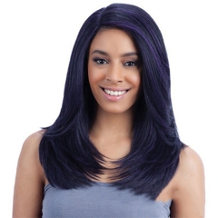 New Fashion Middle Length High Density Women's Full Wig Heat Resistant Synthetic Fiber Hair Black 20 inch