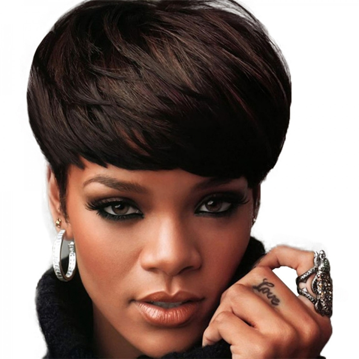 New Fashion Short Bob Fluffy Full Wig with Bangs Heat Resistant Synthetic Fiber Hair Black 9 inch